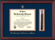 Image of University of Tennessee Martin Diploma Frame - Cherry Reverse - w/UT Embossed Seal & UT Martin Name - Tassel Holder - Navy on Orange Mat