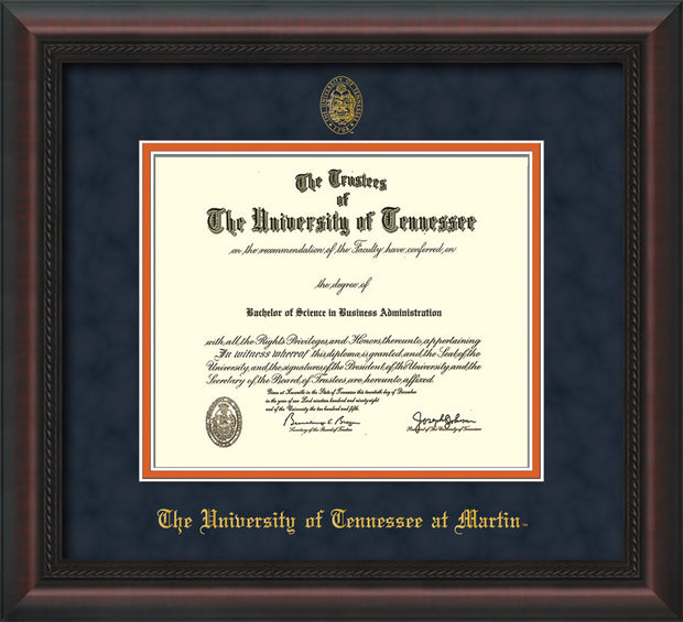 Image of University of Tennessee Martin Diploma Frame - Mahogany Braid - w/UT Embossed Seal & UT Martin Name - Navy Suede on Orange Mat
