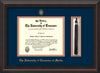 Image of University of Tennessee Martin Diploma Frame - Mahogany Braid - w/UT Embossed Seal & UT Martin Name - Tassel Holder - Navy on Orange Mat