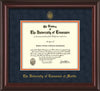 Image of University of Tennessee Martin Diploma Frame - Mahogany Lacquer - w/UT Embossed Seal & UT Martin Name - Navy Suede on Orange Mat