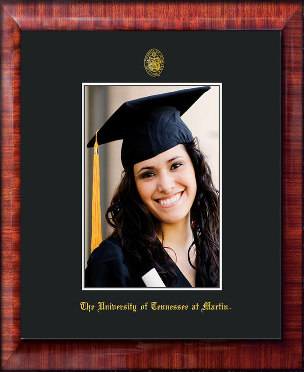 Image of University of Tennessee Martin 5 x 7 Photo Frame - Mezzo Gloss - w/UT Embossed Seal & UT Martin Name - Single Black Mat