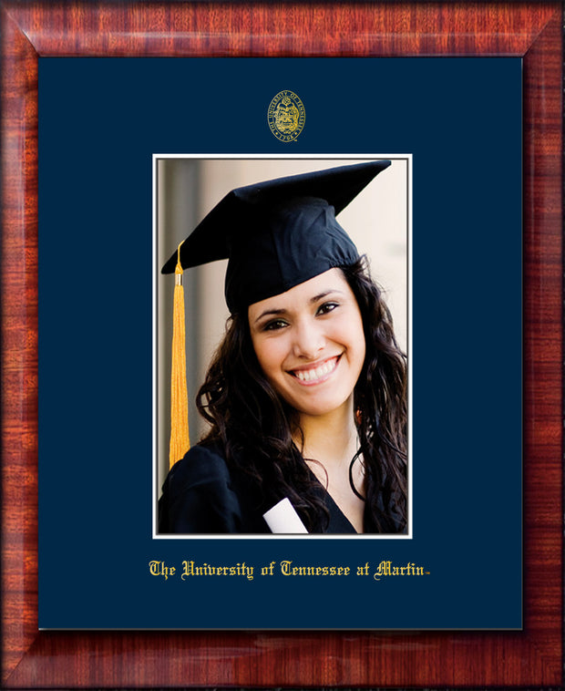 Image of University of Tennessee Martin 5 x 7 Photo Frame - Mezzo Gloss - w/UT Embossed Seal & UT Martin Name - Single Navy Mat