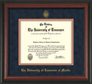 Image of University of Tennessee Martin Diploma Frame - Rosewood - w/UT Embossed Seal & UT Martin Name - Navy Suede on Orange Mat