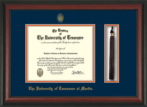Image of University of Tennessee Martin Diploma Frame - Rosewood - w/UT Embossed Seal & UT Martin Name - Tassel Holder - Navy on Orange Mat
