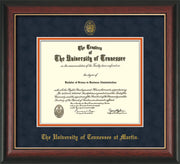 Image of University of Tennessee Martin Diploma Frame - Rosewood w/Gold Lip - w/UT Embossed Seal & UT Martin Name - Navy Suede on Orange Mat