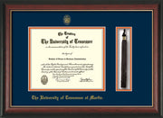 Image of University of Tennessee Martin Diploma Frame - Rosewood w/Gold Lip - w/UT Embossed Seal & UT Martin Name - Tassel Holder - Navy on Orange Mat