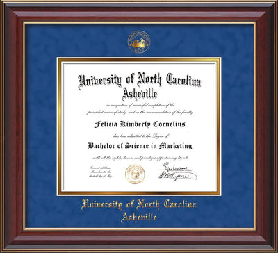 Image of University of North Carolina Asheville Diploma Frame - Cherry Lacquer - w/Embossed UNCA Seal & Name - Royal Blue Suede on Gold mat