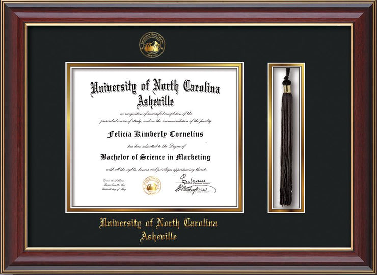 Image of University of North Carolina Asheville Diploma Frame - Cherry Lacquer - w/Embossed UNCA Seal & Name - Tassel Holder - Black on Gold mat