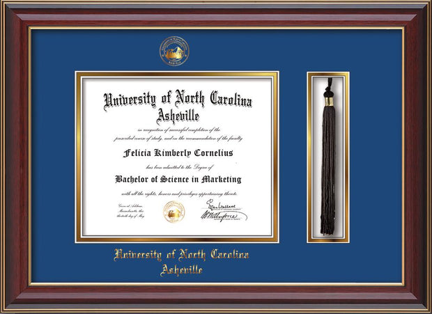 Image of University of North Carolina Asheville Diploma Frame - Cherry Lacquer - w/Embossed UNCA Seal & Name - Tassel Holder - Royal Blue on Gold mat