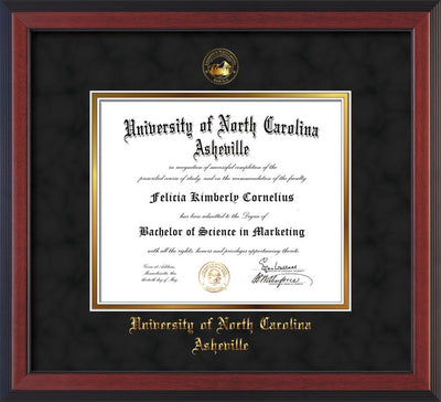Image of University of North Carolina Asheville Diploma Frame - Cherry Reverse - w/Embossed UNCA Seal & Name - Black Suede on Gold mat