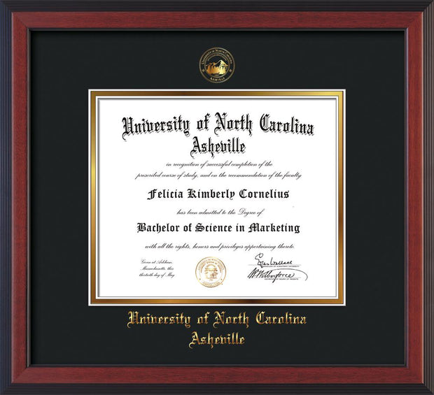 Image of University of North Carolina Asheville Diploma Frame - Cherry Reverse - w/Embossed UNCA Seal & Name - Black on Gold mat