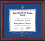 Image of University of North Carolina Asheville Diploma Frame - Cherry Reverse - w/Embossed UNCA Seal & Name - Royal Blue Suede on Gold mat