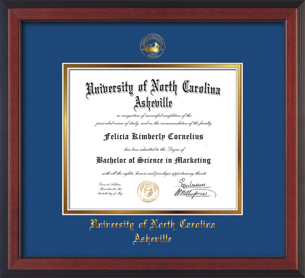 Image of University of North Carolina Asheville Diploma Frame - Cherry Reverse - w/Embossed UNCA Seal & Name - Royal Blue on Gold mat
