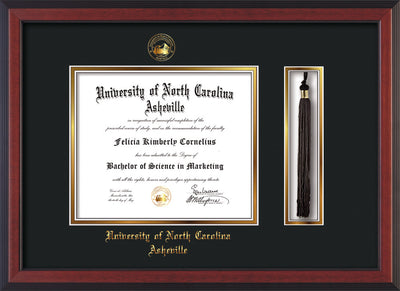 Image of University of North Carolina Asheville Diploma Frame - Cherry Reverse - w/Embossed UNCA Seal & Name - Tassel Holder - Black on Gold mat