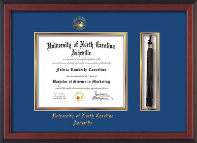 Image of University of North Carolina Asheville Diploma Frame - Cherry Reverse - w/Embossed UNCA Seal & Name - Tassel Holder - Royal Blue on Gold mat