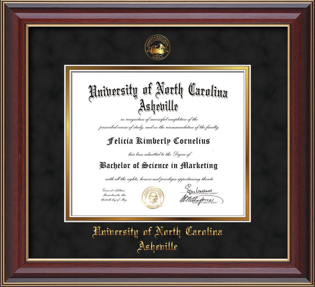 Image of University of North Carolina Asheville Diploma Frame - Cherry Lacquer - w/Embossed UNCA Seal & Name - Black Suede on Gold mat