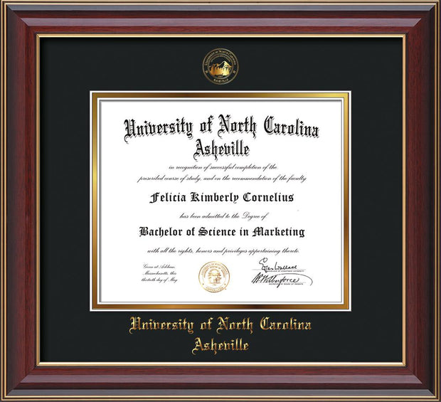 Image of University of North Carolina Asheville Diploma Frame - Cherry Lacquer - w/Embossed UNCA Seal & Name - Black on Gold mat