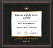 Image of University of North Carolina Asheville Diploma Frame - Mahogany Braid - w/Embossed UNCA Seal & Name - Black Suede on Gold mat