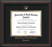 Image of University of North Carolina Asheville Diploma Frame - Mahogany Braid - w/Embossed UNCA Seal & Name - Black on Gold mat