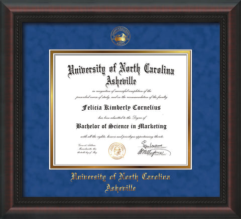 Image of University of North Carolina Asheville Diploma Frame - Mahogany Braid - w/Embossed UNCA Seal & Name - Royal Blue Suede on Gold mat