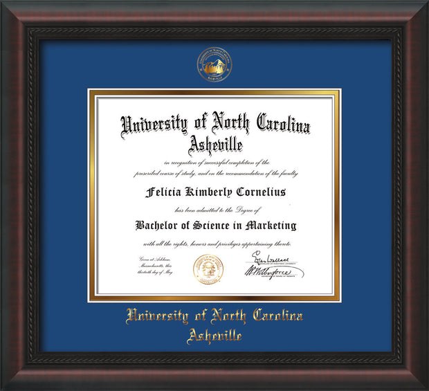 Image of University of North Carolina Asheville Diploma Frame - Mahogany Braid - w/Embossed UNCA Seal & Name - Royal Blue on Gold mat