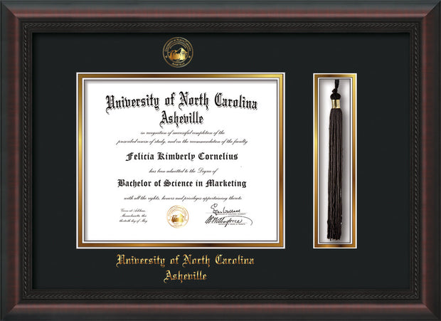 Image of University of North Carolina Asheville Diploma Frame - Mahogany Braid - w/Embossed UNCA Seal & Name - Tassel Holder - Black on Gold mat