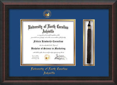 Image of University of North Carolina Asheville Diploma Frame - Mahogany Braid - w/Embossed UNCA Seal & Name - Tassel Holder - Royal Blue on Gold mat