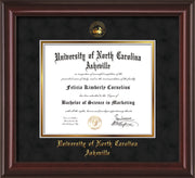 Image of University of North Carolina Asheville Diploma Frame - Mahogany Lacquer - w/Embossed UNCA Seal & Name - Black Suede on Gold mat