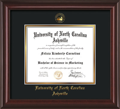Image of University of North Carolina Asheville Diploma Frame - Mahogany Lacquer - w/Embossed UNCA Seal & Name - Black on Gold mat