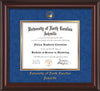 Image of University of North Carolina Asheville Diploma Frame - Mahogany Lacquer - w/Embossed UNCA Seal & Name - Royal Blue Suede on Gold mat