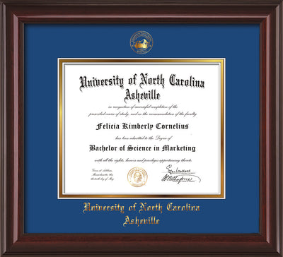 Image of University of North Carolina Asheville Diploma Frame - Mahogany Lacquer - w/Embossed UNCA Seal & Name - Royal Blue on Gold mat