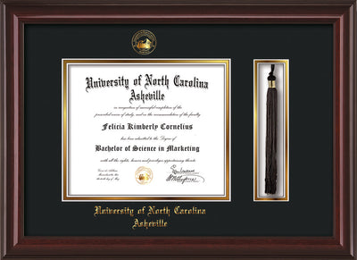 Image of University of North Carolina Asheville Diploma Frame - Mahogany Lacquer - w/Embossed UNCA Seal & Name - Tassel Holder - Black on Gold mat