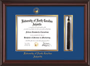 Image of University of North Carolina Asheville Diploma Frame - Mahogany Lacquer - w/Embossed UNCA Seal & Name - Tassel Holder - Royal Blue on Gold mat