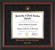 Image of University of North Carolina Asheville Diploma Frame - Rosewood - w/Embossed UNCA Seal & Name - Black Suede on Gold mat