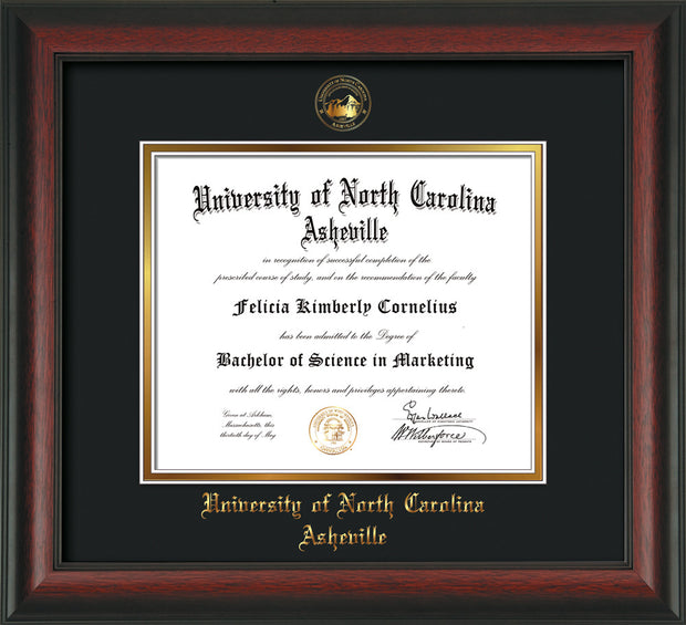 Image of University of North Carolina Asheville Diploma Frame - Rosewood - w/Embossed UNCA Seal & Name - Black on Gold mat