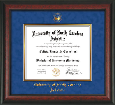 Image of University of North Carolina Asheville Diploma Frame - Rosewood - w/Embossed UNCA Seal & Name - Royal Blue Suede on Gold mat