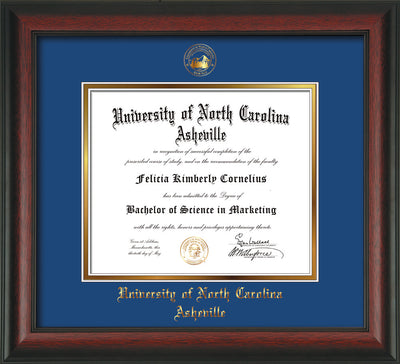 Image of University of North Carolina Asheville Diploma Frame - Rosewood - w/Embossed UNCA Seal & Name - Royal Blue on Gold mat