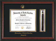 Image of University of North Carolina Asheville Diploma Frame - Rosewood - w/Embossed UNCA Seal & Name - Tassel Holder - Black on Gold mat