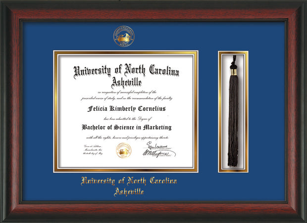 Image of University of North Carolina Asheville Diploma Frame - Rosewood - w/Embossed UNCA Seal & Name - Tassel Holder - Royal Blue on Gold mat