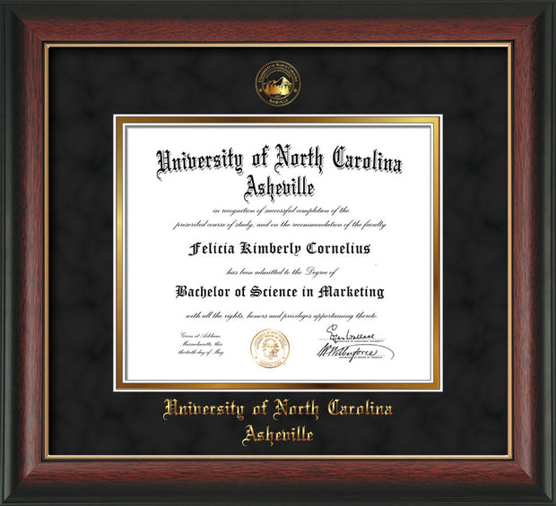 Image of University of North Carolina Asheville Diploma Frame - Rosewood w/Gold Lip - w/Embossed UNCA Seal & Name - Black Suede on Gold mat