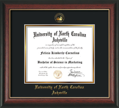 Image of University of North Carolina Asheville Diploma Frame - Rosewood w/Gold Lip - w/Embossed UNCA Seal & Name - Black on Gold mat