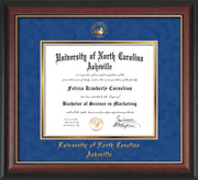 Image of University of North Carolina Asheville Diploma Frame - Rosewood w/Gold Lip - w/Embossed UNCA Seal & Name - Royal Blue Suede on Gold mat