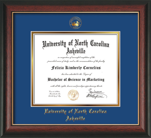 Image of University of North Carolina Asheville Diploma Frame - Rosewood w/Gold Lip - w/Embossed UNCA Seal & Name - Royal Blue on Gold mat