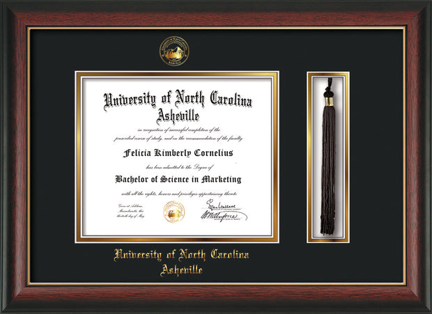 Image of University of North Carolina Asheville Diploma Frame - Rosewood w/Gold Lip - w/Embossed UNCA Seal & Name - Tassel Holder - Black on Gold mat