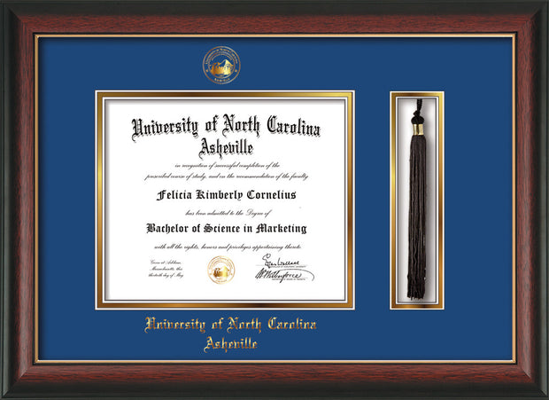 Image of University of North Carolina Asheville Diploma Frame - Rosewood w/Gold Lip - w/Embossed UNCA Seal & Name - Tassel Holder - Royal Blue on Gold mat