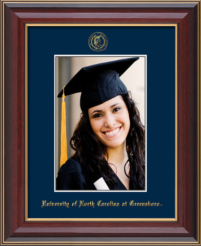 Image of University of North Carolina Greensboro 5 x 7 Photo Frame - Cherry Lacquer - w/Official Embossing of UNCG Seal & Name - Single Navy mat