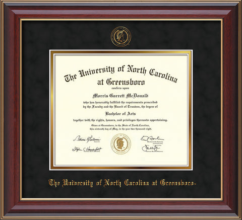 Image of University of North Carolina Greensboro Diploma Frame - Cherry Lacquer - w/Embossed Seal & Name - Black Suede on Gold mat