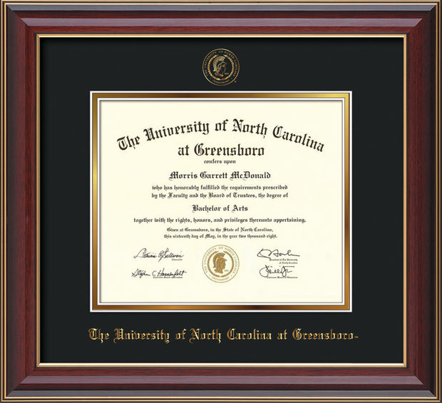 Image of University of North Carolina Greensboro Diploma Frame - Cherry Lacquer - w/Embossed Seal & Name - Black on Gold mat