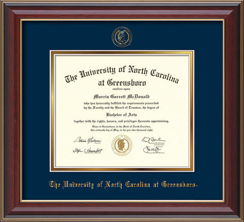 Image of University of North Carolina Greensboro Diploma Frame - Cherry Lacquer - w/Embossed Seal & Name - Navy on Gold mat