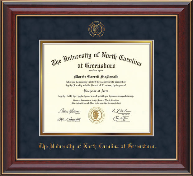 Image of University of North Carolina Greensboro Diploma Frame - Cherry Lacquer - w/Embossed Seal & Name - Navy Suede on Gold mat